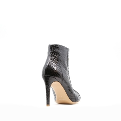 Black Snake Leather Boots Ginissima
