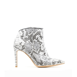 Snake Printed Leather Boots Ginissima