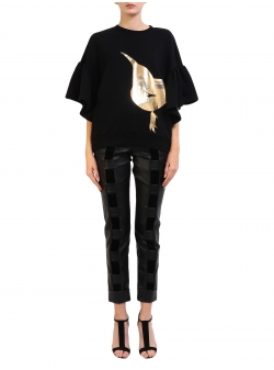 Birdie Black Sweatshirt With Gold Print Ioana Ciolacu