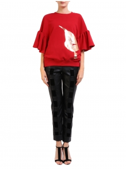 Red Sweatshirt With Golden Print Ioana Ciolacu
