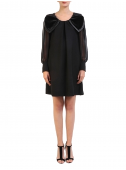 Short Black Dress With An Oversized Collar Florentina Giol