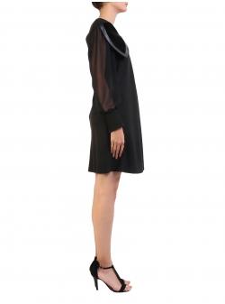 Rochie neagra cu guler supradimensionat Florentina Giol