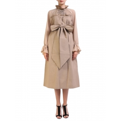Beige Dress With Veil Sleeves Nicoleta Obis