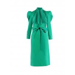 Green Dress With Oversized Shoulders Nicoleta Obis