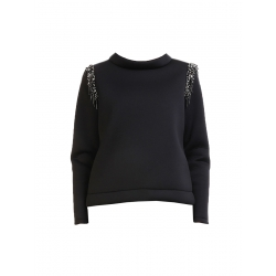 Black Blouse With Silver Sequins Mimita