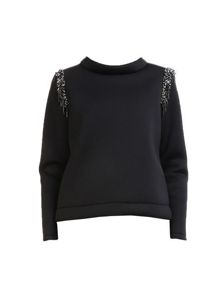Bluza scurta neagra cu paiete argintii Mimita