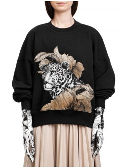Black sweater with digital print