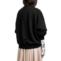 Pulover negru cu imprimeu digital