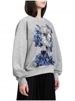 Gray sweater with print Ioana Ciolacu