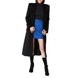 Palton negru cu snur de matase in talie Ramelle