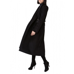 Black coat with silk cord at the waist Ramelle