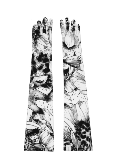 Long gloves with black and white print Ioana Ciolacu