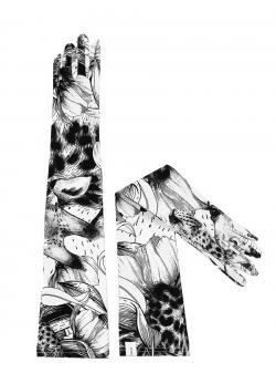 Manusi lungi cu imprimeu alb-negru Ioana Ciolacu