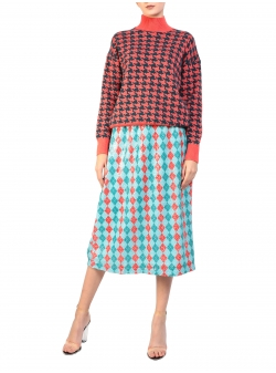 Printed sweater in two colors Houndstooth H2 Smaranda Almasan