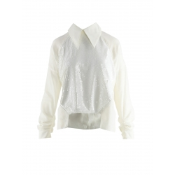 White shirt with sequins inserts Larisa Dragna