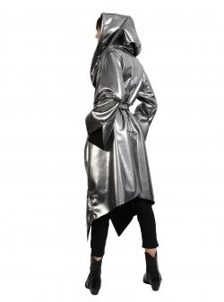Jacheta lunga argintie cu doua fete Edita Lupea