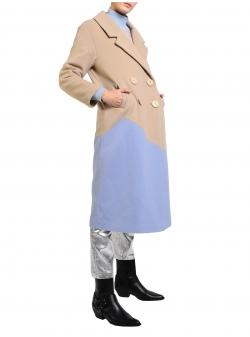 Palton din stofă de lână în două culori Mimita