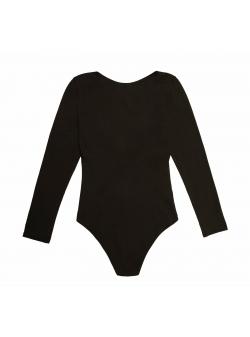 Body negru din bumbac cu maneca lunga Nalu Underwear