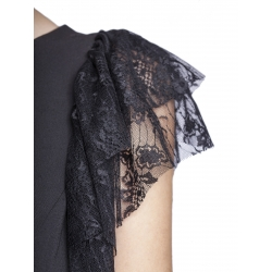 Top negru cu aplicatii din dantela Florentina Giol