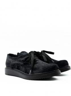 Pantofi negri din blana naturala cu siret Meekee