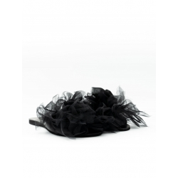 Black Leather Slippers with Tulle