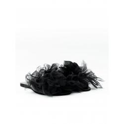 Papuci negri de piele naturala cu tul Meekee
