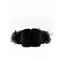 Sandale negre de piele naturala cu tul Meekee