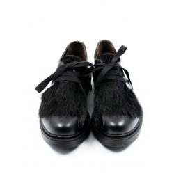 Pantofi negri cu siret Furry Meekee