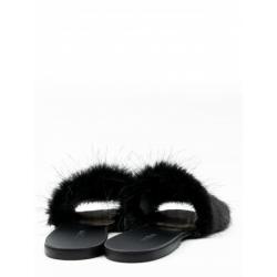 Papuci cu blana naturala Furry Slides Meekee