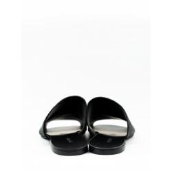 Papuci negri din blana naturala Panel Fur Meekee