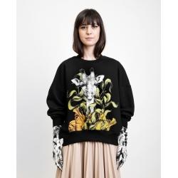 Sweatshirt negru cu imprimeu digital 'Girafa' Ioana Ciolacu