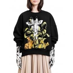 Swatshirt gri cu imprimeu digital 'Girafa' Ioana Ciolacu