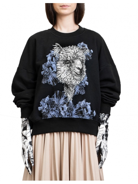 Sweatshirt negru cu imprimeu digital 'Alpaca' Ioana Ciolacu