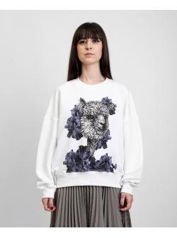 Sweatshirt alb cu imprimeu digital 'Alpaca' Ioana Ciolacu
