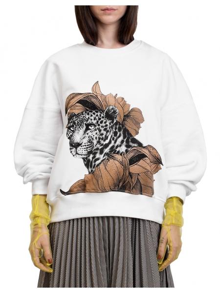 Sweatshirt alb cu imprimeu digital 'Leopard' Ioana Ciolacu