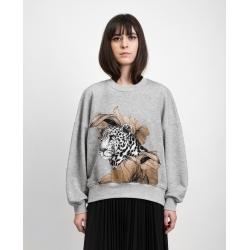 Sweatshirt gri cu imprimeu digital 'Leopard' Ioana Ciolacu