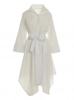 White dress with kimono sleeves Larisa Dragna