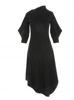 Black midi dress with asymmetrical collar Larisa Dragna