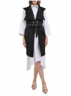 Origami black vest with oversized Larisa Dragna