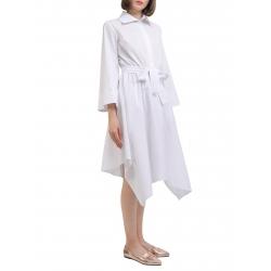 Rochie alba cu maneci kimono si cordon in talie Larisa Dragna