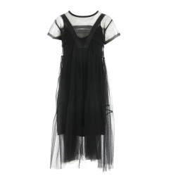 Black tulle dress with pleats Larisa Dragna