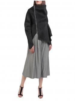 Jacheta neagra cu fermoar si guler asimetric Larisa Dragna