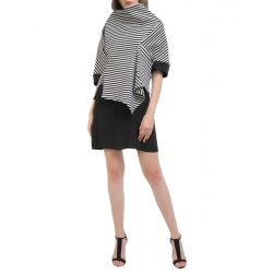 Striped jacket and asymmetrical collar Larisa Dragna