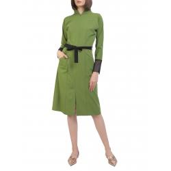 Green midi dress with high collar Laris Dragna