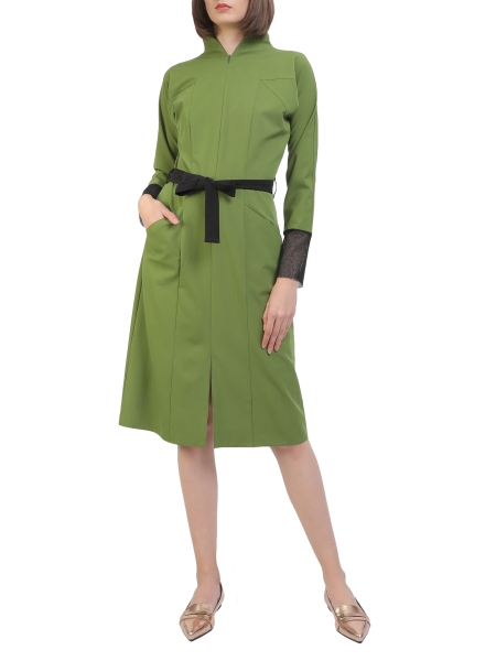 Rochie midi verde cu guler inalt Laris Dragna