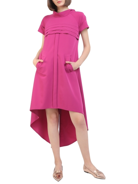 Cyclam dress with pleats and short sleeve Larisa Dragna