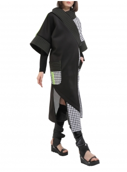Jacheta kimono in doua culori cu benzi si cusaturi contrastante Edita Lupea