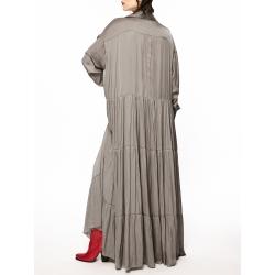 Rochie camasa oversized cu cordon si volane