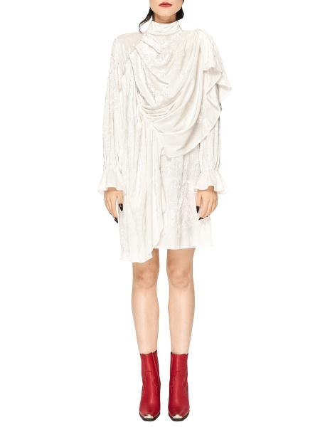 Rochie din catifea lucioasa cu drapaje Chic Utility