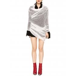 Rochie alba mini tricotata din lana cu drapaje Chic Utility